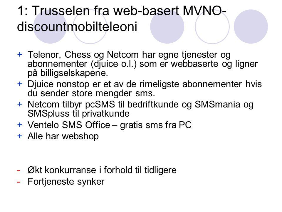 1: Trusselen fra web-basert MVNO- discountmobilteleoni +Telenor, Chess og Netcom har egne tjenester og abonnementer (djuice o.l.) som er webbaserte og ligner på billigselskapene.