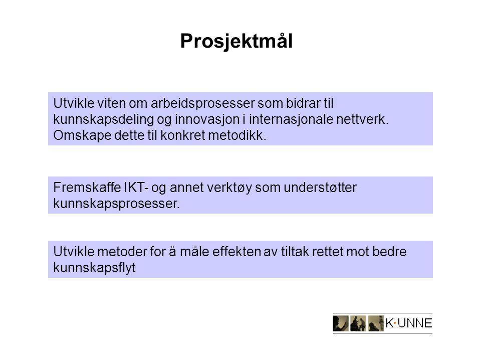 Prosjektmål Utvikle viten om arbeidsprosesser som bidrar til kunnskapsdeling og innovasjon i internasjonale nettverk.