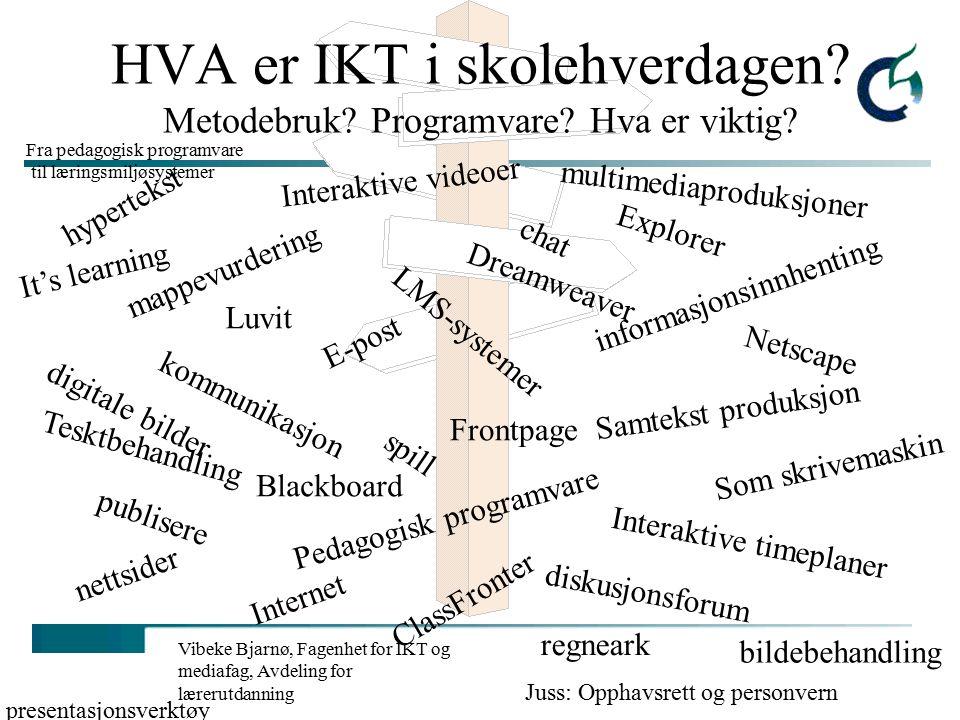 Vibeke Bjarnø, Fagenhet for IKT og mediafag, Avdeling for lærerutdanning Elektroniske læremidler på internett Ressurssidene - språk, grammatikk, dialekter m.m: http://www.norsknettskole.no/globalskolen/ressurssidene/ http://www.norsknettskole.no/globalskolen/ressurssidene/ Skolenettets multimediabase: http://skolenettet.ls.no/imaker?id=160034&malgruppe=0&trinn= 0&omr=35260&mal=nyhet http://skolenettet.ls.no/imaker?id=160034&malgruppe=0&trinn= 0&omr=35260&mal=nyhet Fin interaktiv side på matematikk: http://www.matematikk.orghttp://www.matematikk.org Gruble: www.gruble.netwww.gruble.net Gyldendal: http://www.gyldendal.no/mfl/katland/http://www.gyldendal.no/mfl/katland/ Vikingspill: http://www.aasgard.com/http://www.aasgard.com/ Til hva og hvordan kan disse praktisk benyttes i skolen?