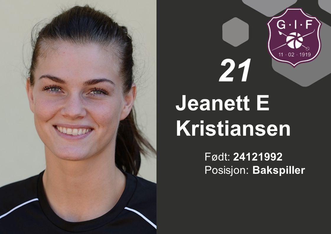 Født: 24121992 Posisjon: Bakspiller Jeanett E Kristiansen 21