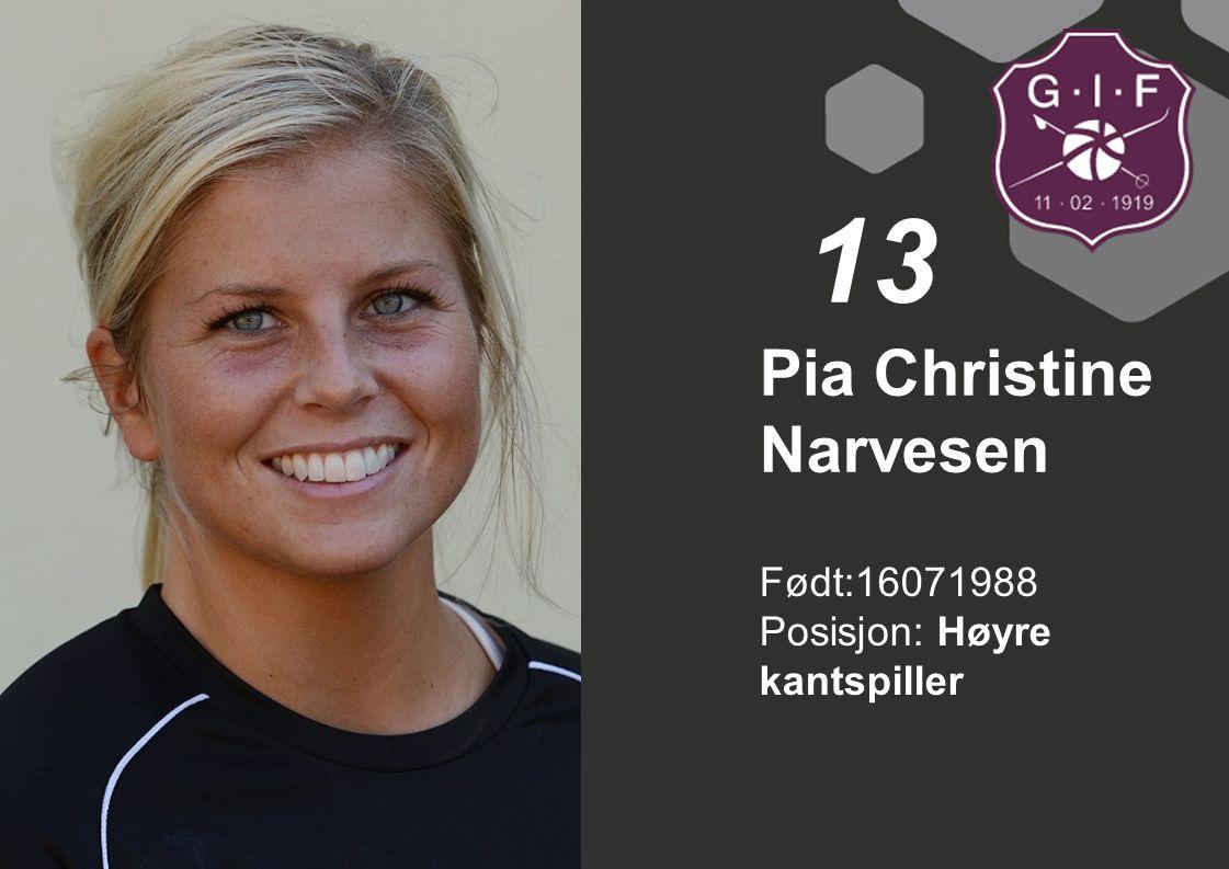 Født:16071988 Posisjon: Høyre kantspiller Pia Christine Narvesen 13