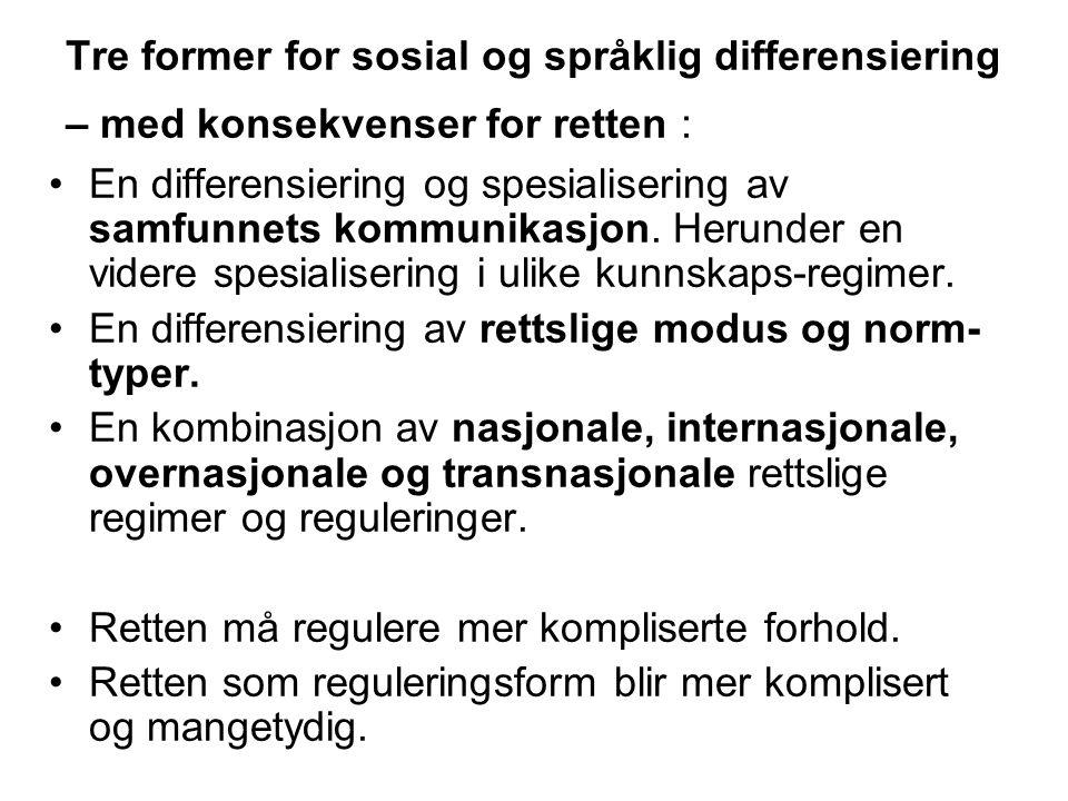 Tre former for sosial og språklig differensiering – med konsekvenser for retten : En differensiering og spesialisering av samfunnets kommunikasjon.
