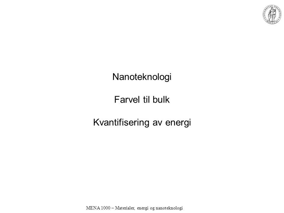 Nanoteknologi Farvel til bulk Kvantifisering av energi MENA 1000 – Materialer, energi og nanoteknologi