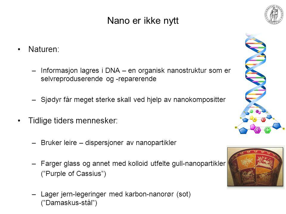 Nano er ikke nytt Naturen: –Informasjon lagres i DNA – en organisk nanostruktur som er selvreproduserende og -reparerende –Sjødyr får meget sterke ska