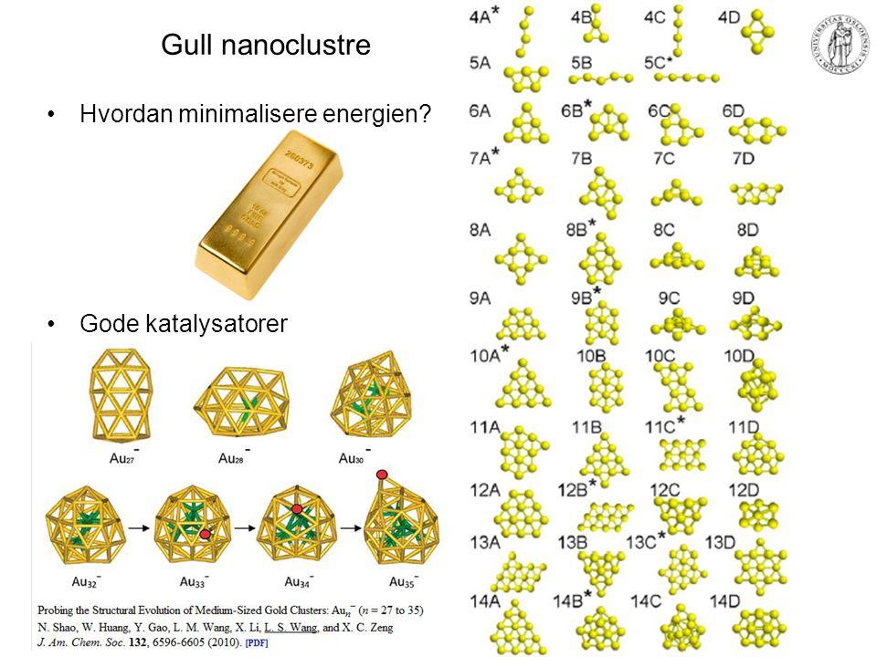Gull nanoclustre Hvordan minimalisere energien? Gode katalysatorer