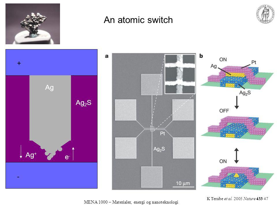 An atomic switch MENA 1000 – Materialer, energi og nanoteknologi K Terabe et al. 2005 Nature 433 47 + - Ag Ag 2 S Ag + e-e-