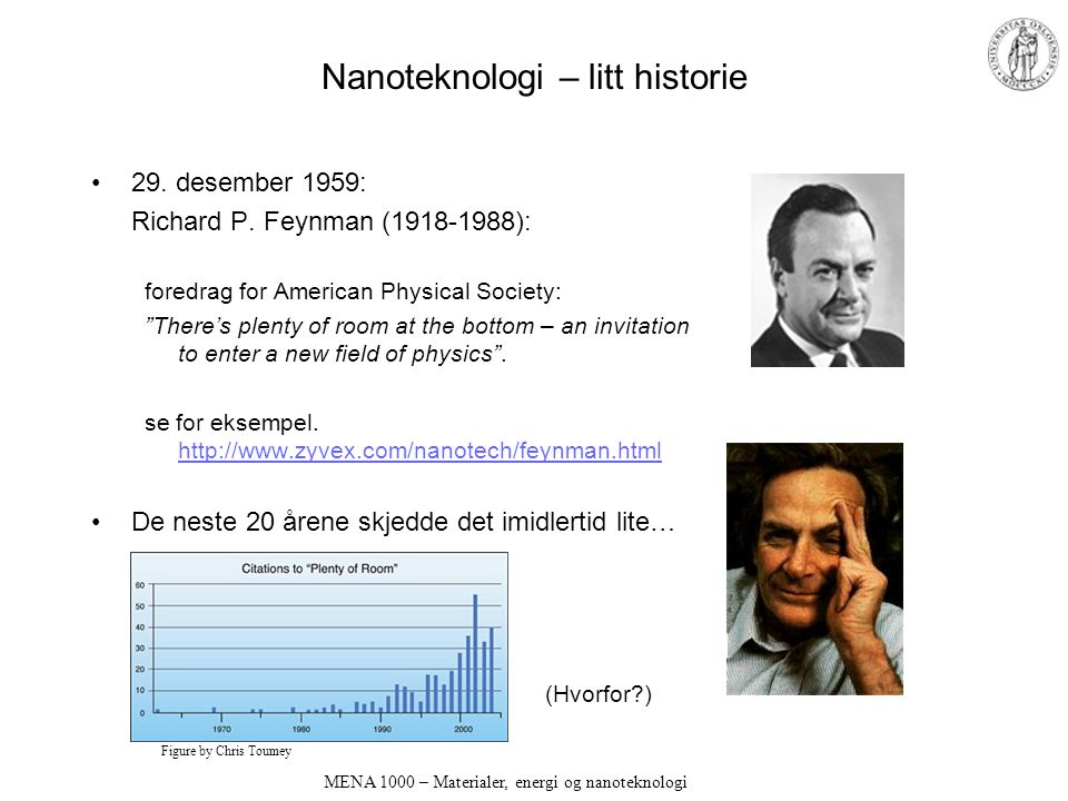 "Nanoteknologi – litt historie 29. desember 1959: Richard P. Feynman (1918-1988): foredrag for American Physical Society: ""There's plenty of room at th"