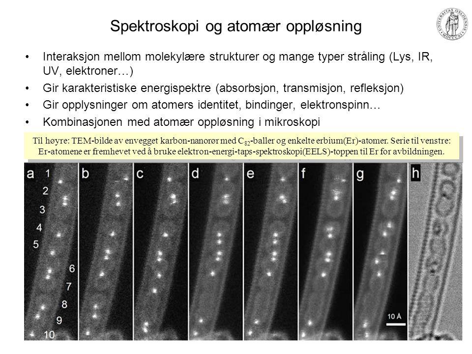 Fremstilling og manipulasjon av nanostrukturer Top-down: –Litografiske metoder; elektronstrålelitografi Avsette Reagere Etse –Skjæremetoder Focused Ion Beam (FIB) Bottom-up: –Chemical Vapour Deposition (CVD) –Lag-for-lag –Nanopartikler –Selvbyggende, selvrepliserende Manipulering –SPM-manipulering av atomer FIB