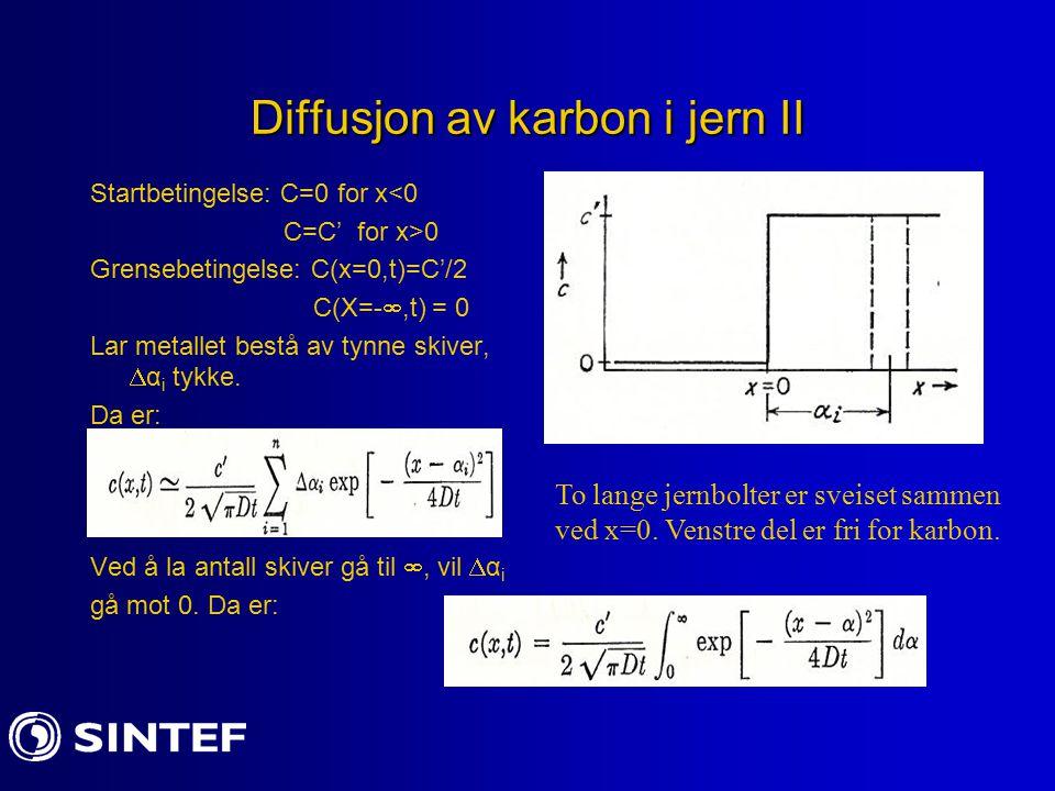 Diffusjon av karbon i jern II Startbetingelse: C=0 for x<0 C=C' for x>0 Grensebetingelse: C(x=0,t)=C'/2 C(X=- ,t) = 0 Lar metallet bestå av tynne skiver,  α i tykke.