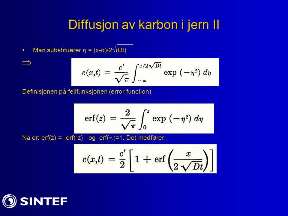 Diffusjon av karbon i jern II Man substituerer  = (x-α)/2  (Dt)  Definisjonen på feilfunksjonen (error function) Nå er: erf(z) = -erf(-z) og erf(  )=1.