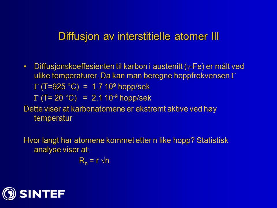 Diffusjon av interstitielle atomer III Diffusjonskoeffesienten til karbon i austenitt (  -Fe) er målt ved ulike temperaturer.