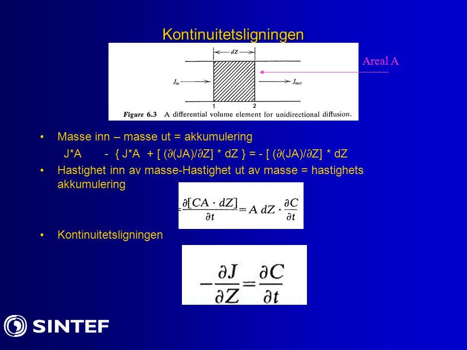 Kontinuitetsligningen Masse inn – masse ut = akkumulering J*A - { J*A + [ (  (JA)/  Z] * dZ } = - [ (  (JA)/  Z] * dZ Hastighet inn av masse-Hastighet ut av masse = hastighets akkumulering Kontinuitetsligningen Areal A