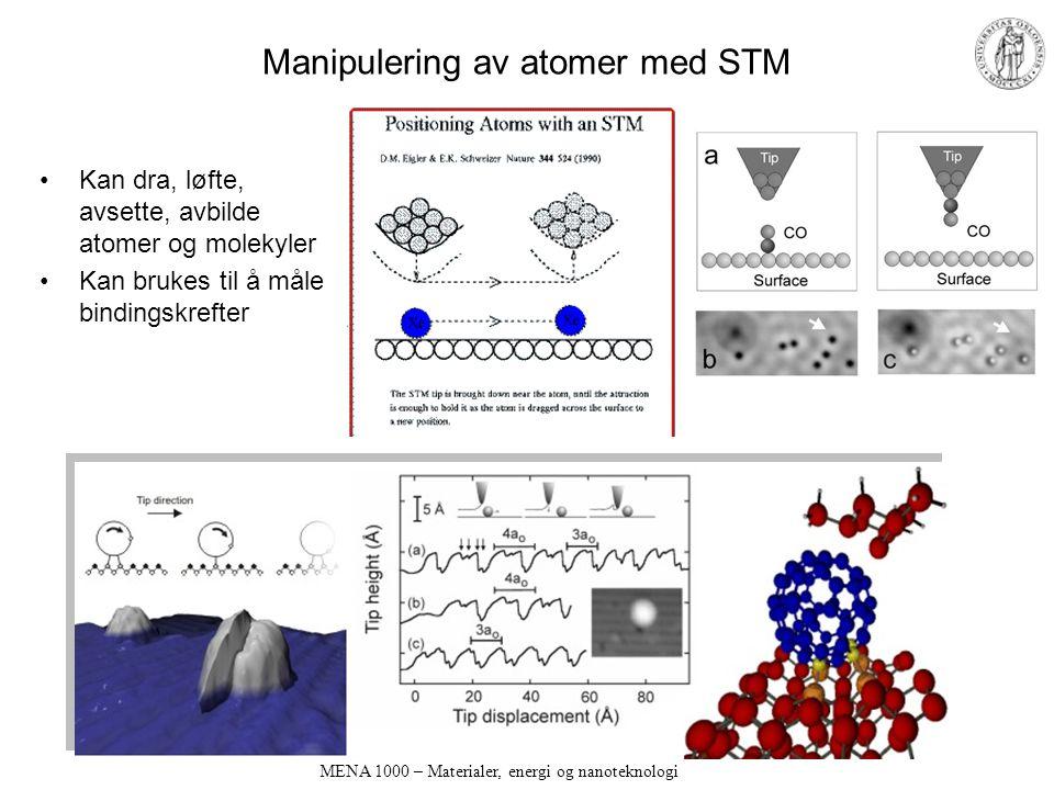 MENA 1000 – Materialer, energi og nanoteknologi Manipulering av atomer med STM Kan dra, løfte, avsette, avbilde atomer og molekyler Kan brukes til å måle bindingskrefter