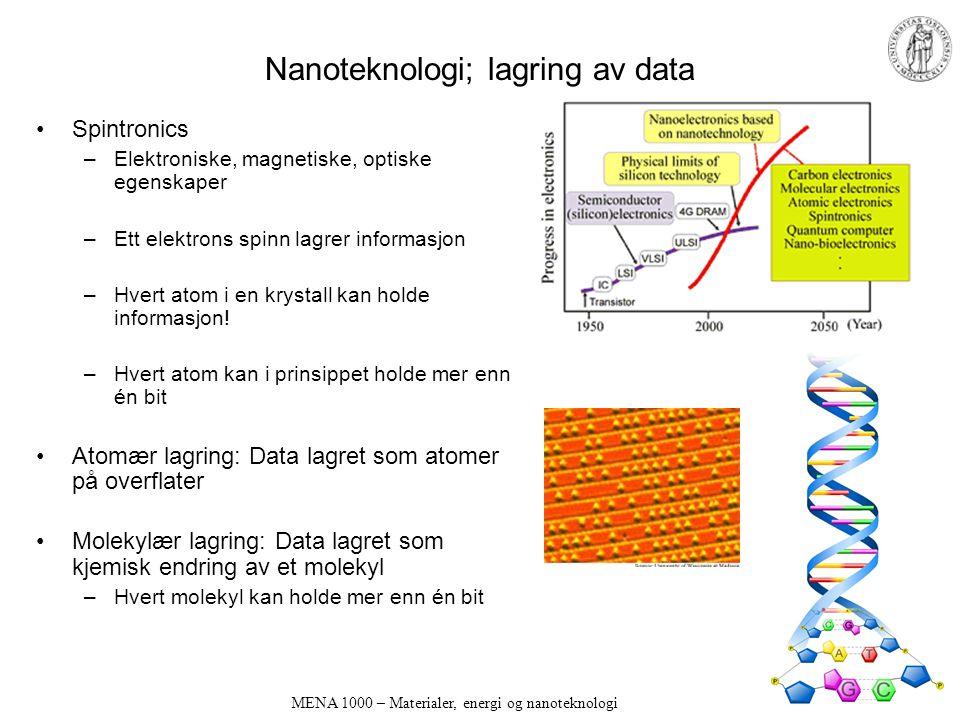 MENA 1000 – Materialer, energi og nanoteknologi Nanoteknologi; lagring av data Spintronics –Elektroniske, magnetiske, optiske egenskaper –Ett elektrons spinn lagrer informasjon –Hvert atom i en krystall kan holde informasjon.