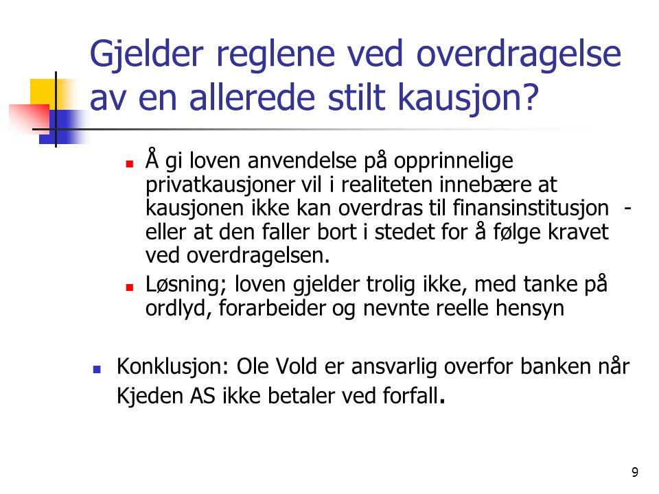 10 2.Har Ole Vold rett til å motregne overfor banken med Leietaker AS krav.