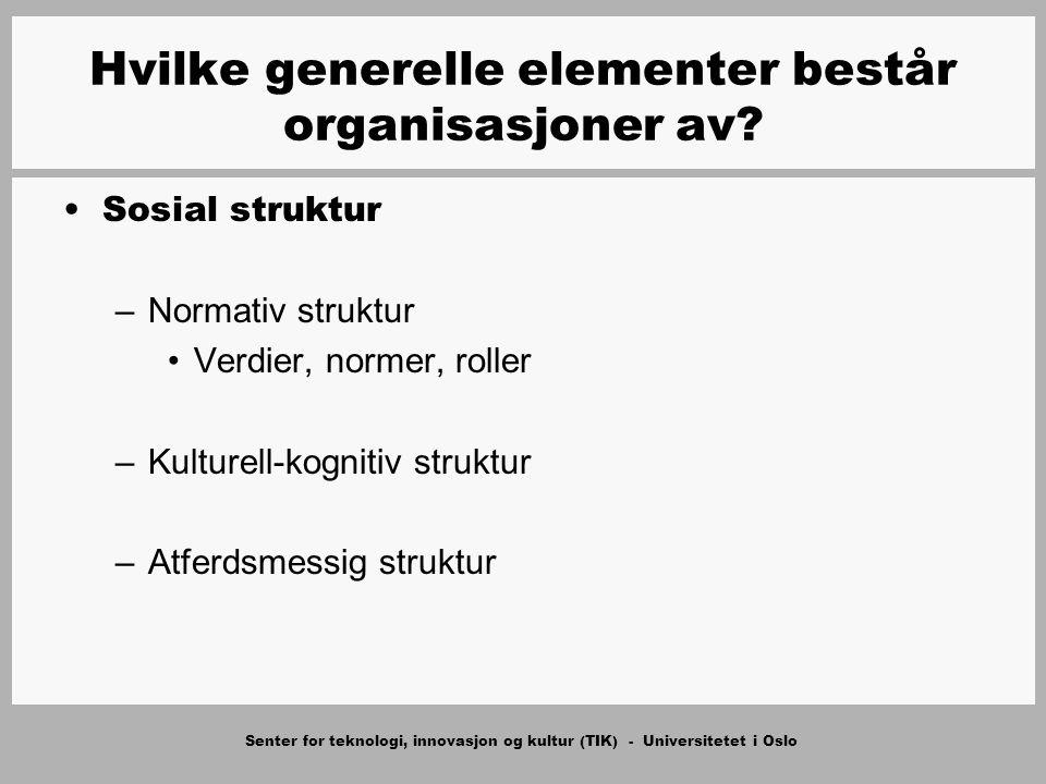 Senter for teknologi, innovasjon og kultur (TIK) - Universitetet i Oslo Sosial struktur –Normativ struktur Verdier, normer, roller –Kulturell-kognitiv