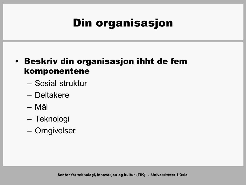 Senter for teknologi, innovasjon og kultur (TIK) - Universitetet i Oslo Din organisasjon Beskriv din organisasjon ihht de fem komponentene –Sosial str