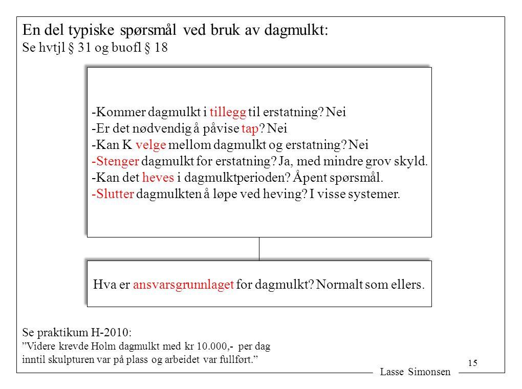 Lasse Simonsen En del typiske spørsmål ved bruk av dagmulkt: Se hvtjl § 31 og buofl § 18 Hva er ansvarsgrunnlaget for dagmulkt.