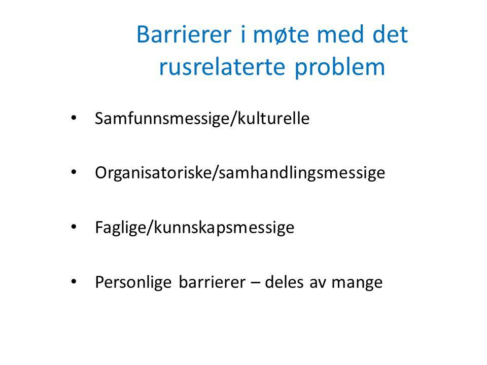 Barrierer i møte med det rusrelaterte problem Samfunnsmessige/kulturelle Organisatoriske/samhandlingsmessige Faglige/kunnskapsmessige Personlige barrierer – deles av mange