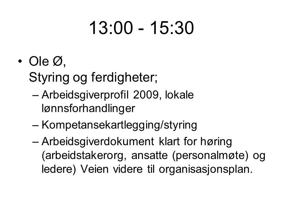 13:00 - 15:30 Ole Ø, Styring og ferdigheter; –Arbeidsgiverprofil 2009, lokale lønnsforhandlinger –Kompetansekartlegging/styring –Arbeidsgiverdokument klart for høring (arbeidstakerorg, ansatte (personalmøte) og ledere) Veien videre til organisasjonsplan.