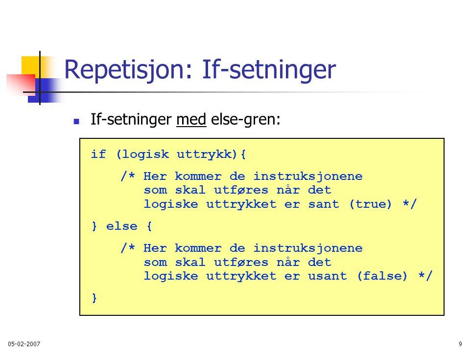 05-02-200740 Eksempel: stolpediagram Problem: Anta f.eks.
