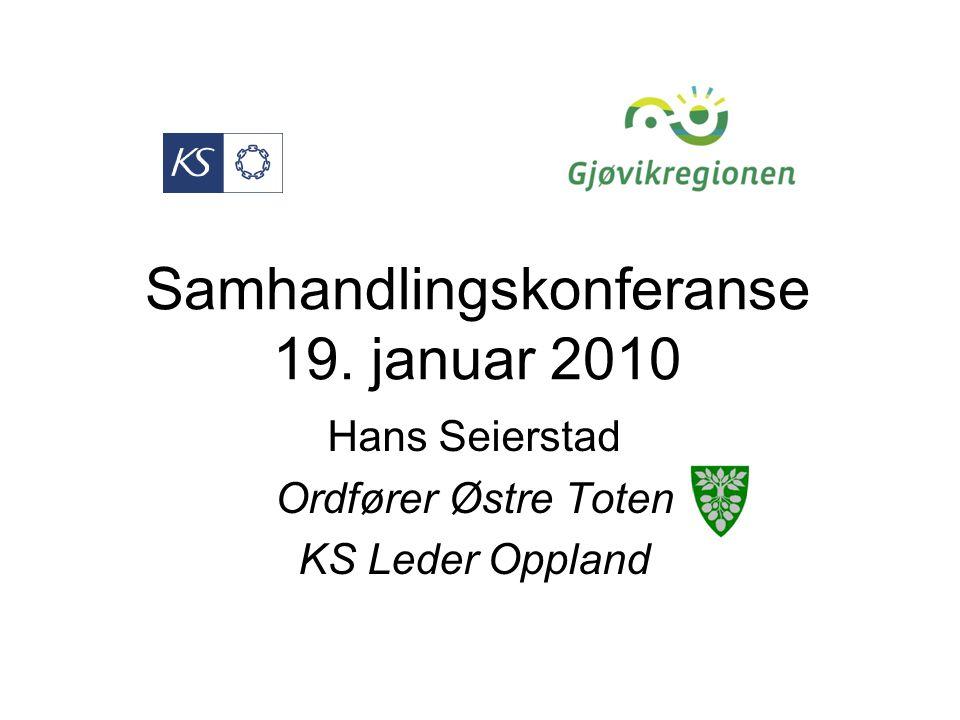 Samhandlingskonferanse 19. januar 2010 Hans Seierstad Ordfører Østre Toten KS Leder Oppland
