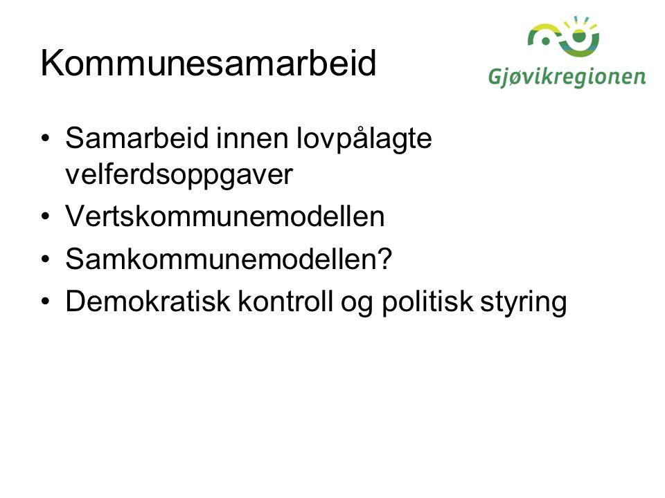 Kommunesamarbeid Samarbeid innen lovpålagte velferdsoppgaver Vertskommunemodellen Samkommunemodellen.