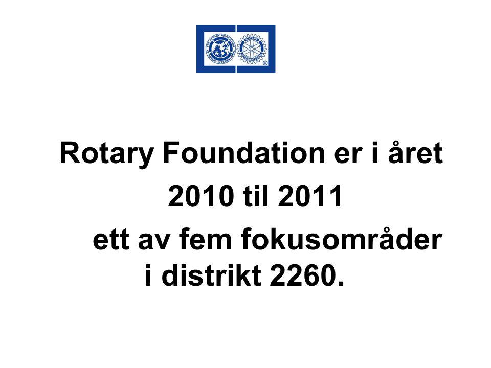 ROTARY FOUNDATION Tilgjengelige midler: DDF – Kr.260.000 Øremerket til lokale prosjekter kr.