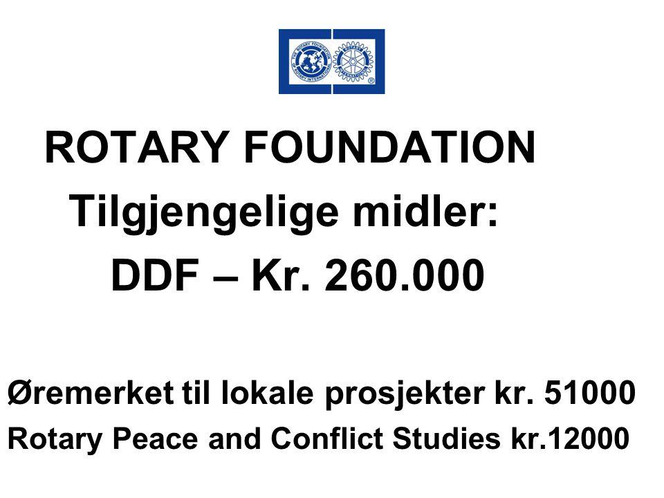 ROTARY FOUNDATION Tilgjengelige midler: DDF – Kr. 260.000 Øremerket til lokale prosjekter kr. 51000 Rotary Peace and Conflict Studies kr.12000