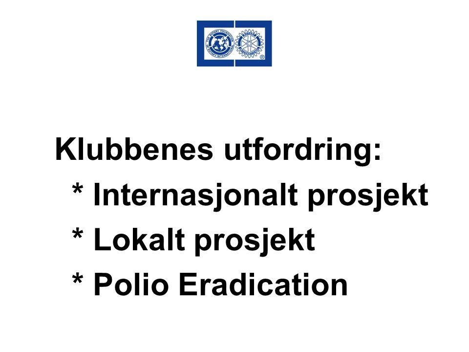 Klubbenes utfordring: * Internasjonalt prosjekt * Lokalt prosjekt * Polio Eradication