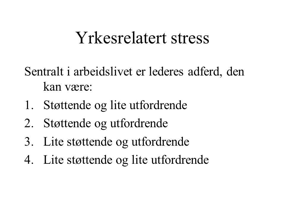 Yrkesrelatert stress Sentralt i arbeidslivet er lederes adferd, den kan være: 1.Støttende og lite utfordrende 2.Støttende og utfordrende 3.Lite støttende og utfordrende 4.Lite støttende og lite utfordrende
