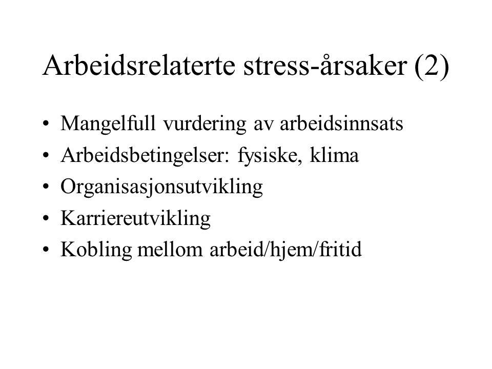 Arbeidsrelaterte stress-årsaker (2) Mangelfull vurdering av arbeidsinnsats Arbeidsbetingelser: fysiske, klima Organisasjonsutvikling Karriereutvikling Kobling mellom arbeid/hjem/fritid
