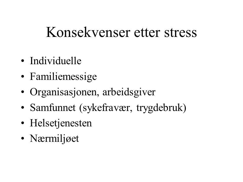 Konsekvenser etter stress Individuelle Familiemessige Organisasjonen, arbeidsgiver Samfunnet (sykefravær, trygdebruk) Helsetjenesten Nærmiljøet