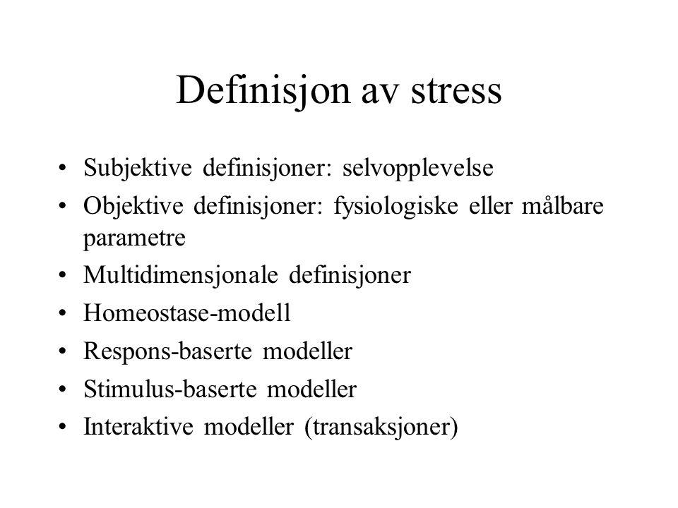 Årsaker til stress Kunnskap om årsaker er ikke fordelt etter alvorlighetsgrad, idet dette vil variere mellom yrker Mange årsaker henger sammen, selv om de nevnes isolert vil de være sammenbundet Listene vil aldri være uttømmende, og ikke ivareta unike faktorer på den enkelte arbeidsplass