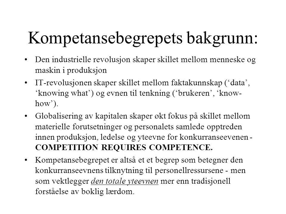 KOMPETANSEBEGREPET Kompetanse - utledet av lat.competo, å være tilstrekkelig, passende.