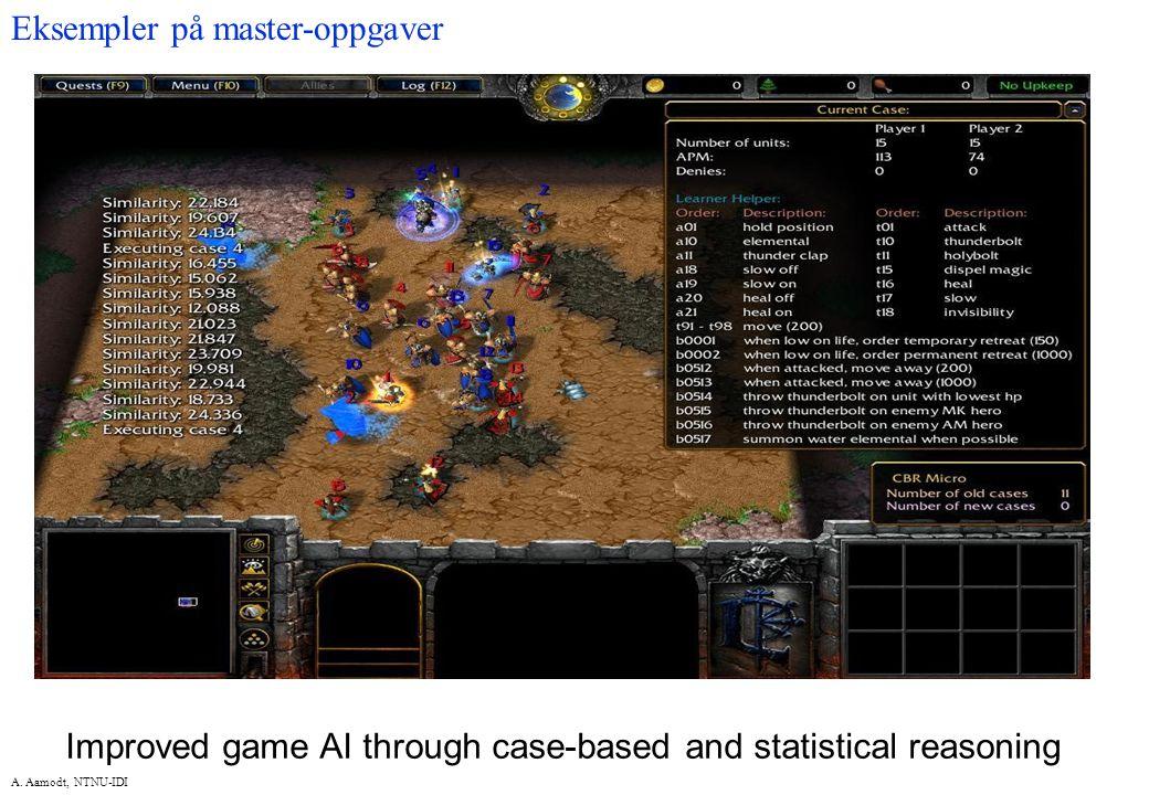 A. Aamodt, NTNU-IDI Improved game AI through case-based and statistical reasoning Eksempler på master-oppgaver