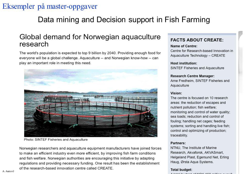 A. Aamodt, NTNU-IDI Data mining and Decision support in Fish Farming Eksempler på master-oppgaver