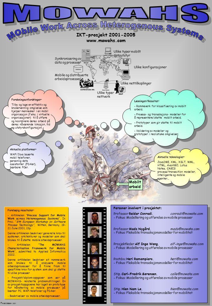 IKT-prosjekt 2001-2005 www.mowahs.com Ulike typer mobilt datautstyr Ulike konfigurasjoner Synkronisering av data og prosesser Ulike typer nettverk Mobile og distribuerte arbeidsprosesser Ulike nettilkoplinger Forskningsutfordringer: Tilby og lage en effektiv og brukervennlig omgivelse som hjelper mennesker i en mobil organisasjon (f.eks.
