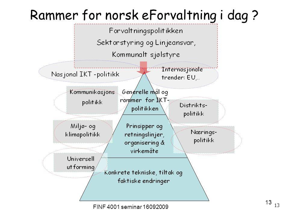 FINF 4001 seminar 16092009 13 Rammer for norsk eForvaltning i dag ?