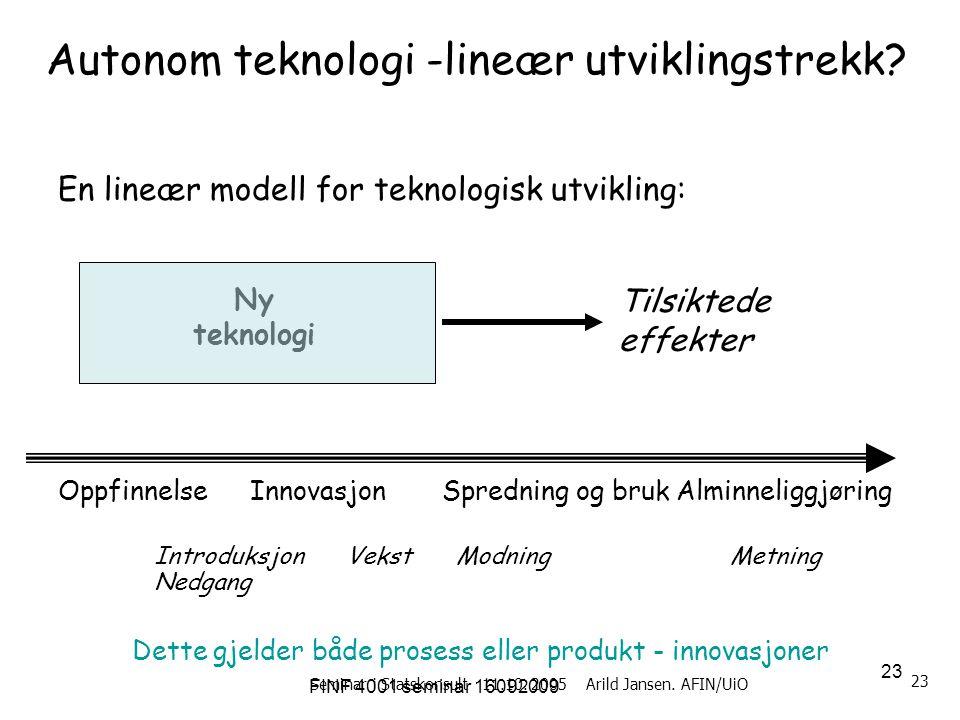 FINF 4001 seminar 16092009 23 Seminar i Statskonsult 11.10. 2005 Arild Jansen. AFIN/UiO 23 Autonom teknologi -lineær utviklingstrekk? En lineær modell