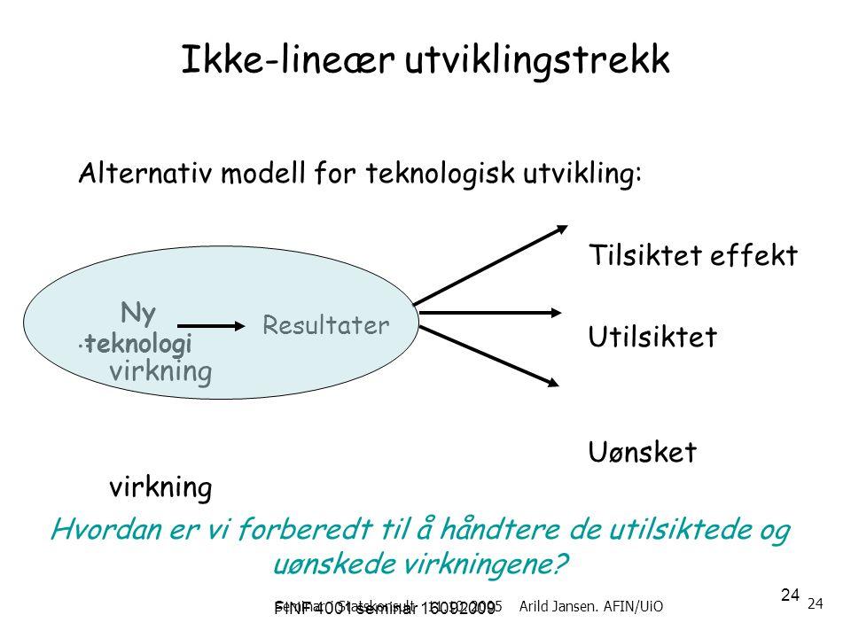 FINF 4001 seminar 16092009 24 Seminar i Statskonsult 11.10. 2005 Arild Jansen. AFIN/UiO 24 Ikke-lineær utviklingstrekk Alternativ modell for teknologi