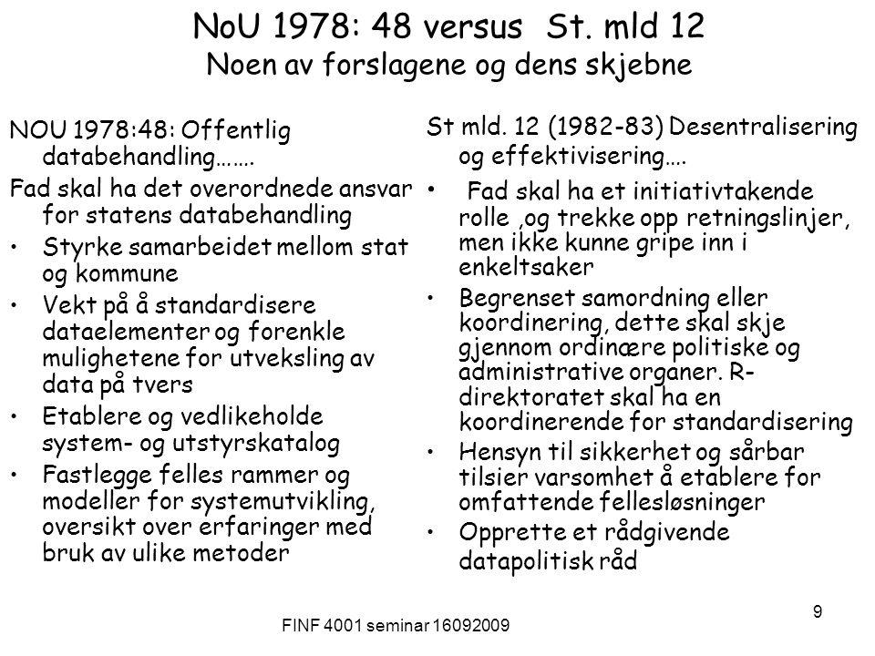 FINF 4001 seminar 16092009 9 NoU 1978: 48 versus St. mld 12 Noen av forslagene og dens skjebne NOU 1978:48: Offentlig databehandling……. Fad skal ha de