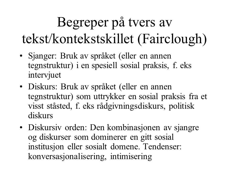 Begreper på tvers av tekst/kontekstskillet (Fairclough) Sjanger: Bruk av språket (eller en annen tegnstruktur) i en spesiell sosial praksis, f. eks in
