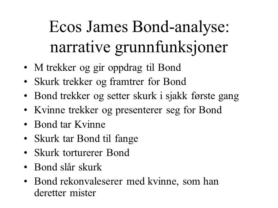 Ecos James Bond-analyse: narrative grunnfunksjoner M trekker og gir oppdrag til Bond Skurk trekker og framtrer for Bond Bond trekker og setter skurk i