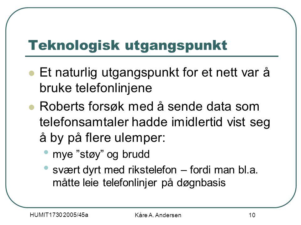HUMIT1730 2005/45a Kåre A. Andersen 10 Teknologisk utgangspunkt Et naturlig utgangspunkt for et nett var å bruke telefonlinjene Roberts forsøk med å s