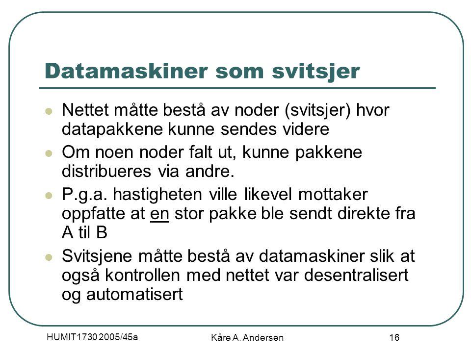 HUMIT1730 2005/45a Kåre A. Andersen 16 Datamaskiner som svitsjer Nettet måtte bestå av noder (svitsjer) hvor datapakkene kunne sendes videre Om noen n