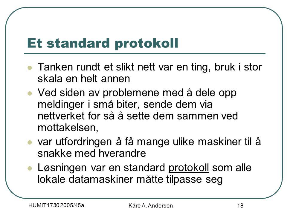 HUMIT1730 2005/45a Kåre A. Andersen 18 Et standard protokoll Tanken rundt et slikt nett var en ting, bruk i stor skala en helt annen Ved siden av prob