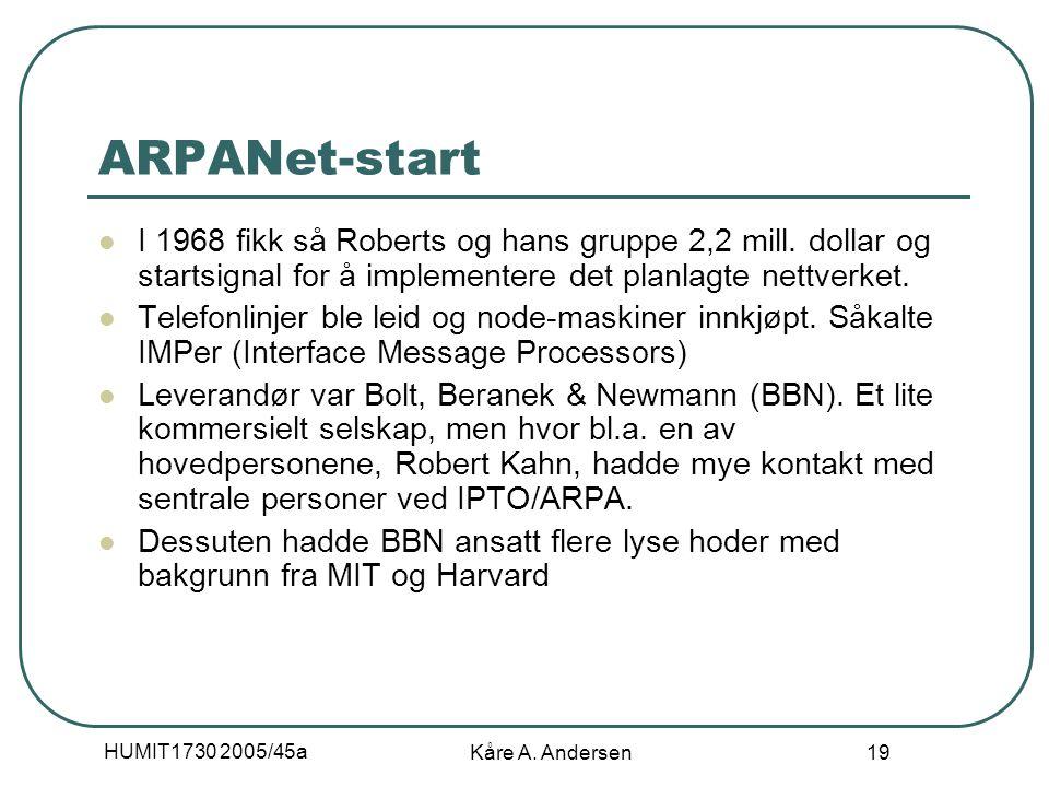 HUMIT1730 2005/45a Kåre A. Andersen 19 ARPANet-start I 1968 fikk så Roberts og hans gruppe 2,2 mill. dollar og startsignal for å implementere det plan