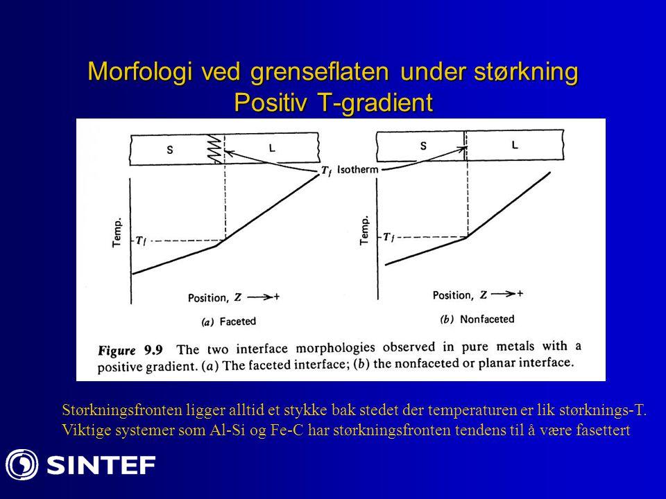 Morfologi ved grenseflaten under størkning Positiv T-gradient Størkningsfronten ligger alltid et stykke bak stedet der temperaturen er lik størknings-