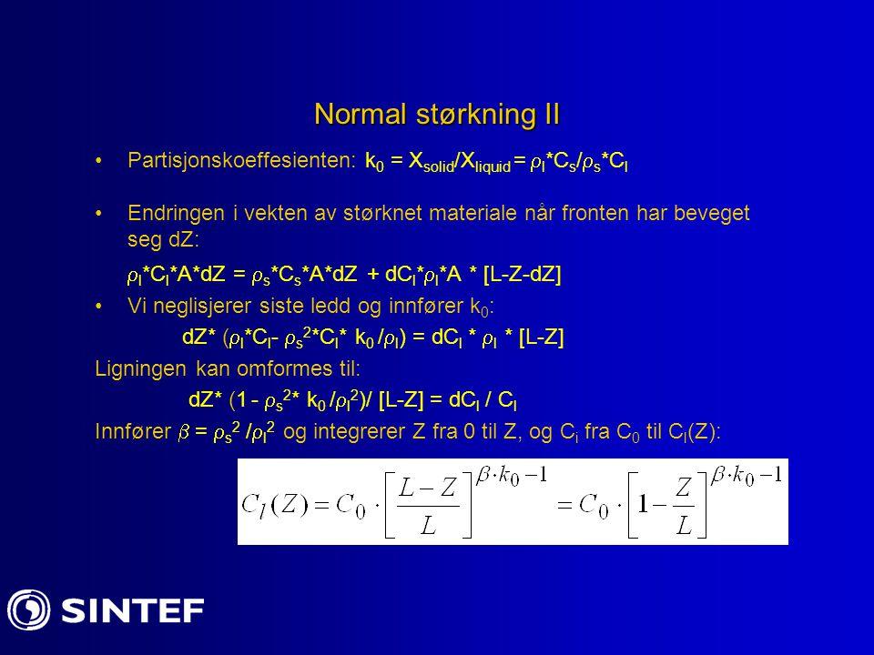 Normal størkning II Partisjonskoeffesienten: k 0 = X solid /X liquid =  l *C s /  s *C l Endringen i vekten av størknet materiale når fronten har be